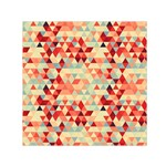 Modern Hipster Triangle Pattern Red Blue Beige Small Satin Scarf (Square) Front
