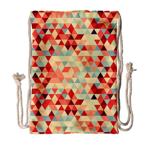 Modern Hipster Triangle Pattern Red Blue Beige Drawstring Bag (Large)