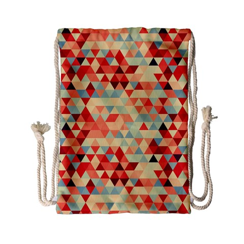 Modern Hipster Triangle Pattern Red Blue Beige Drawstring Bag (Small)