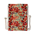 Modern Hipster Triangle Pattern Red Blue Beige Drawstring Bag (Small) Front