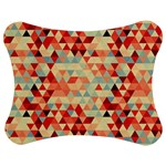 Modern Hipster Triangle Pattern Red Blue Beige Jigsaw Puzzle Photo Stand (Bow) Front