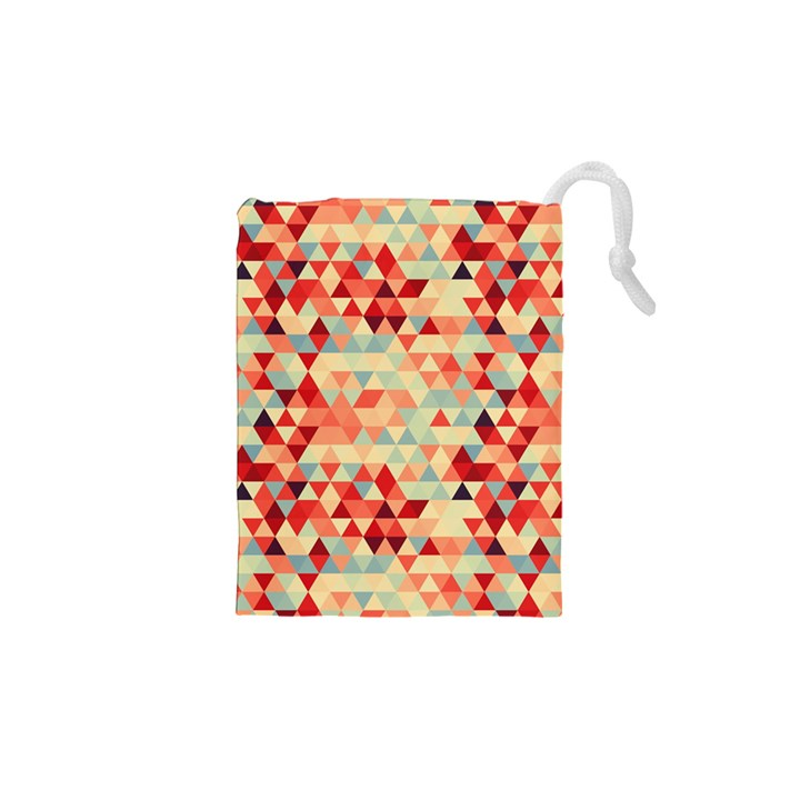 Modern Hipster Triangle Pattern Red Blue Beige Drawstring Pouches (XS)
