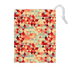 Modern Hipster Triangle Pattern Red Blue Beige Drawstring Pouches (Extra Large)