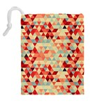 Modern Hipster Triangle Pattern Red Blue Beige Drawstring Pouches (Extra Large) Back