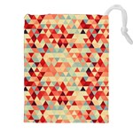 Modern Hipster Triangle Pattern Red Blue Beige Drawstring Pouches (XXL) Front