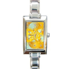 Gold Blue Abstract Blossom Rectangle Italian Charm Watch