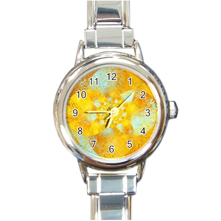 Gold Blue Abstract Blossom Round Italian Charm Watch