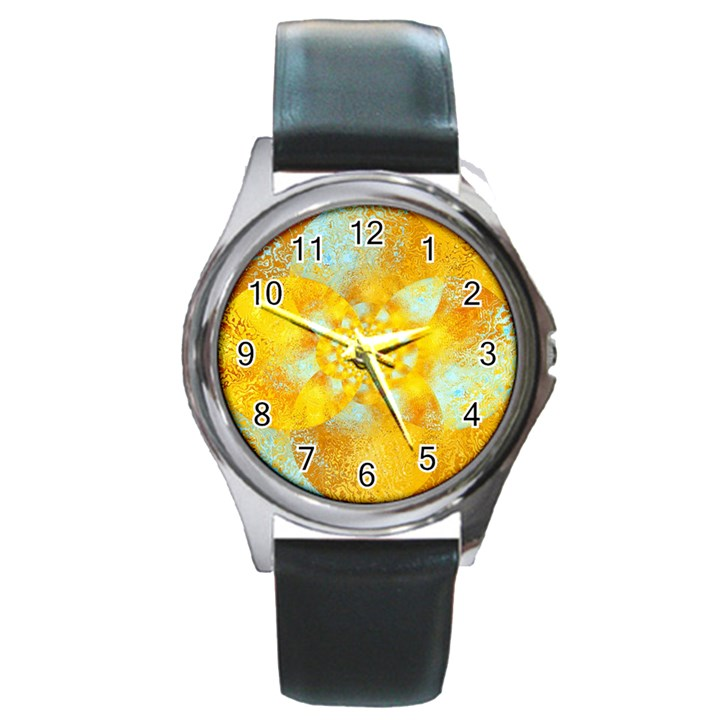 Gold Blue Abstract Blossom Round Metal Watch