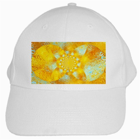 Gold Blue Abstract Blossom White Cap