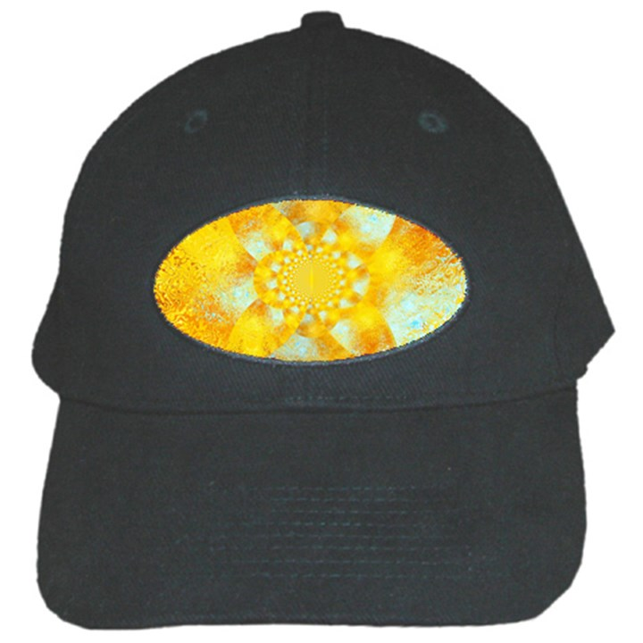 Gold Blue Abstract Blossom Black Cap