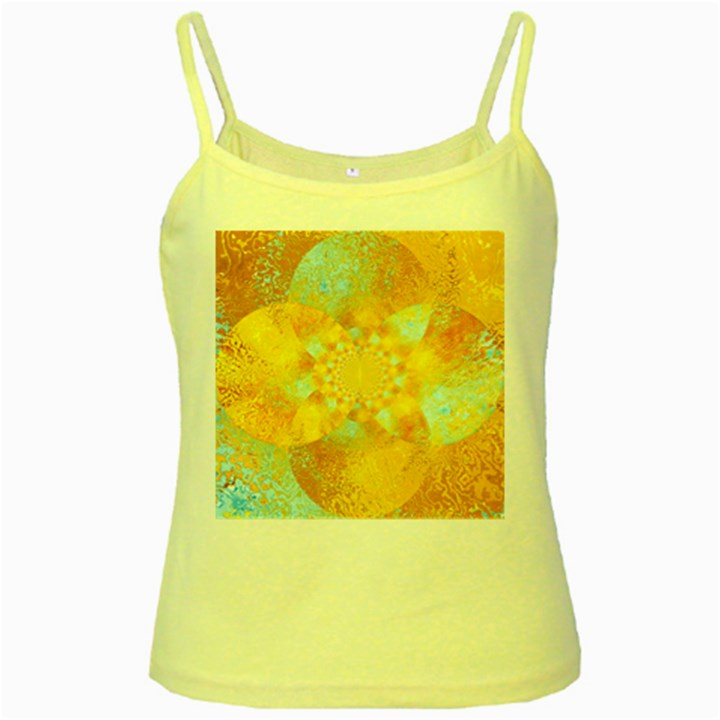 Gold Blue Abstract Blossom Yellow Spaghetti Tank