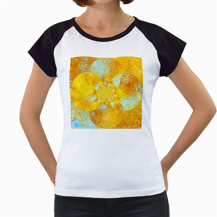 Gold Blue Abstract Blossom Women s Cap Sleeve T