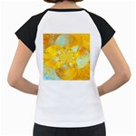 Gold Blue Abstract Blossom Women s Cap Sleeve T Back