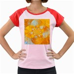 Gold Blue Abstract Blossom Women s Cap Sleeve T-Shirt Front