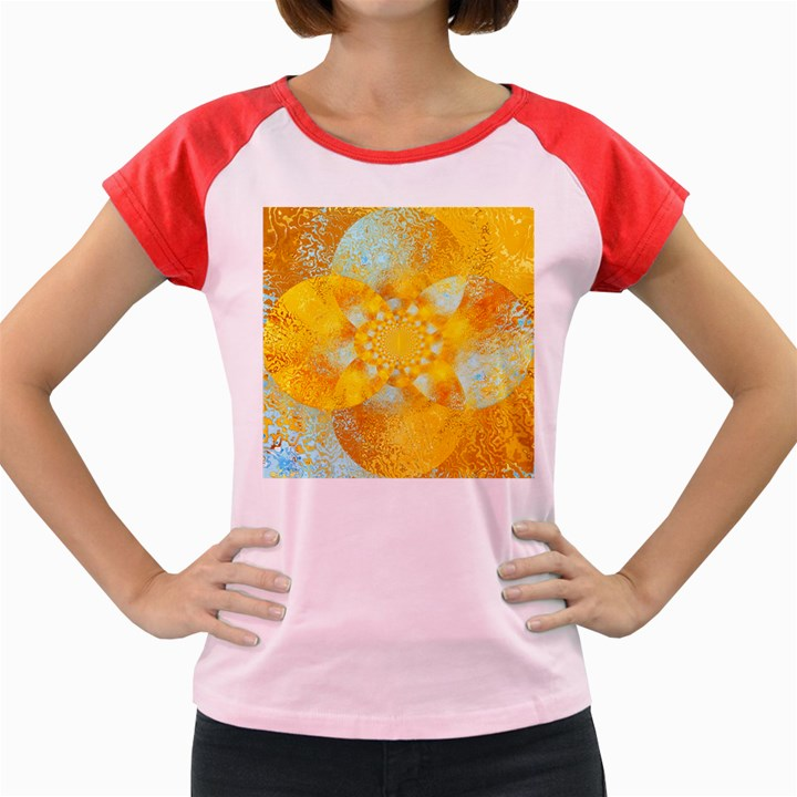 Gold Blue Abstract Blossom Women s Cap Sleeve T-Shirt