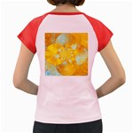 Gold Blue Abstract Blossom Women s Cap Sleeve T-Shirt Back