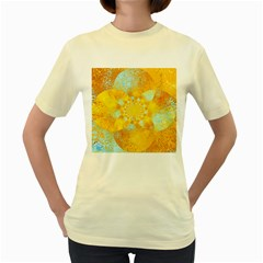 Gold Blue Abstract Blossom Women s Yellow T-Shirt
