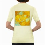 Gold Blue Abstract Blossom Women s Yellow T-Shirt Back