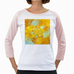 Gold Blue Abstract Blossom Girly Raglans