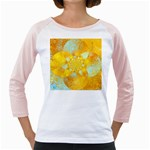 Gold Blue Abstract Blossom Girly Raglans Front