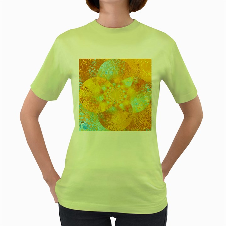 Gold Blue Abstract Blossom Women s Green T-Shirt