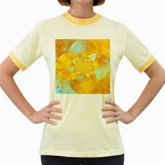 Gold Blue Abstract Blossom Women s Fitted Ringer T Shirts