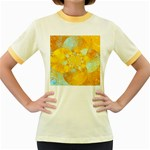 Gold Blue Abstract Blossom Women s Fitted Ringer T-Shirts Front