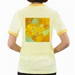 Gold Blue Abstract Blossom Women s Fitted Ringer T-Shirts Back