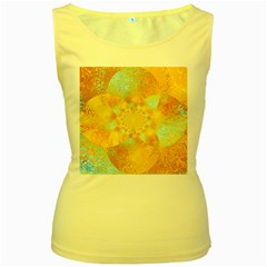 Gold Blue Abstract Blossom Women s Yellow Tank Top