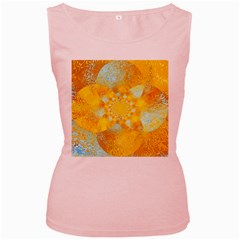 Gold Blue Abstract Blossom Women s Pink Tank Top