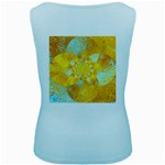 Gold Blue Abstract Blossom Women s Baby Blue Tank Top Back
