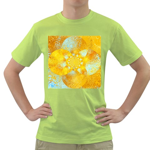 Gold Blue Abstract Blossom Green T-Shirt