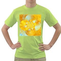 Gold Blue Abstract Blossom Green T Shirt