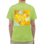 Gold Blue Abstract Blossom Green T-Shirt Back