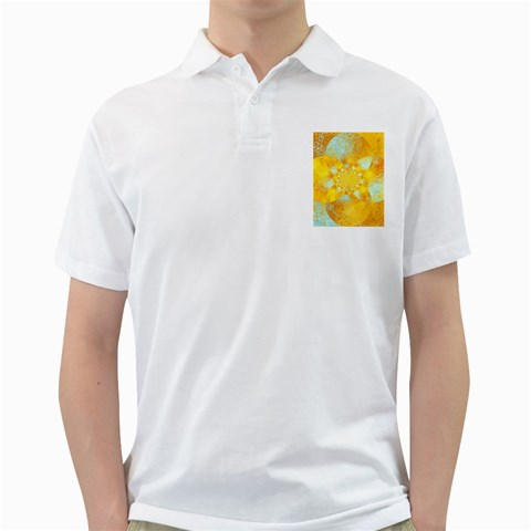 Gold Blue Abstract Blossom Golf Shirts