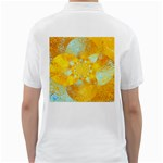 Gold Blue Abstract Blossom Golf Shirts Back