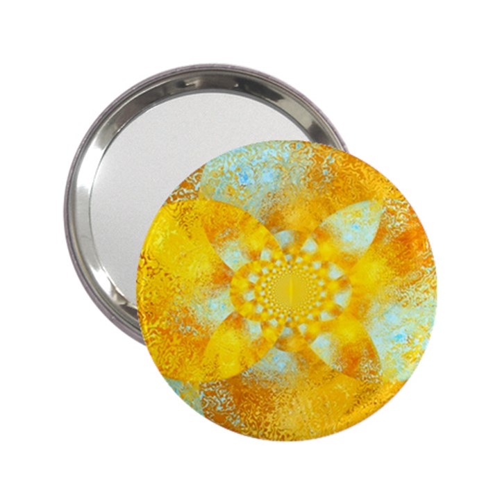 Gold Blue Abstract Blossom 2.25  Handbag Mirrors
