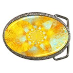 Gold Blue Abstract Blossom Belt Buckles Front