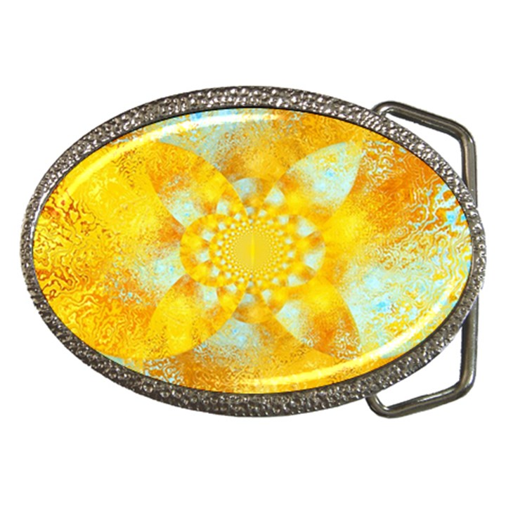 Gold Blue Abstract Blossom Belt Buckles