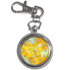Gold Blue Abstract Blossom Key Chain Watches