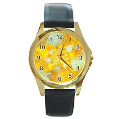 Gold Blue Abstract Blossom Round Gold Metal Watch