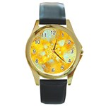 Gold Blue Abstract Blossom Round Gold Metal Watch Front