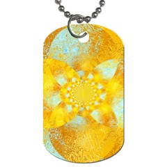 Gold Blue Abstract Blossom Dog Tag (one Side)