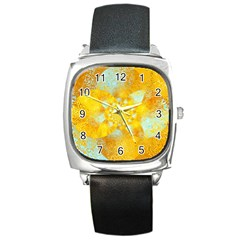 Gold Blue Abstract Blossom Square Metal Watch