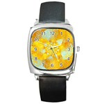 Gold Blue Abstract Blossom Square Metal Watch Front