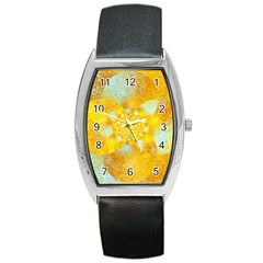 Gold Blue Abstract Blossom Barrel Style Metal Watch