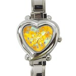 Gold Blue Abstract Blossom Heart Italian Charm Watch Front