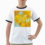 Gold Blue Abstract Blossom Ringer T-Shirts Front