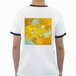 Gold Blue Abstract Blossom Ringer T-Shirts Back