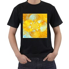 Gold Blue Abstract Blossom Men s T Shirt (black) (two Sided)